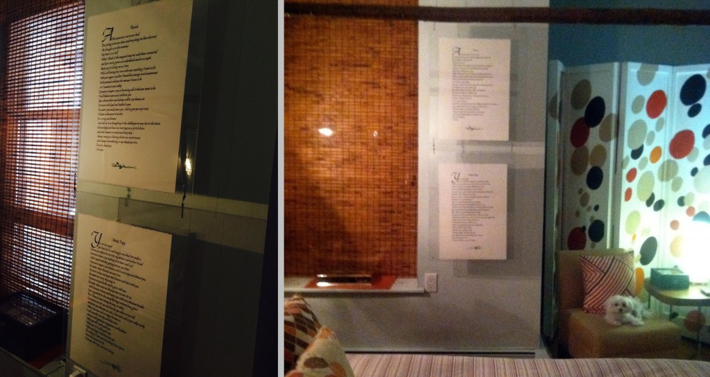The wedding vows of Patrick Page and Paige Davis hang on the wall in their bedroom.